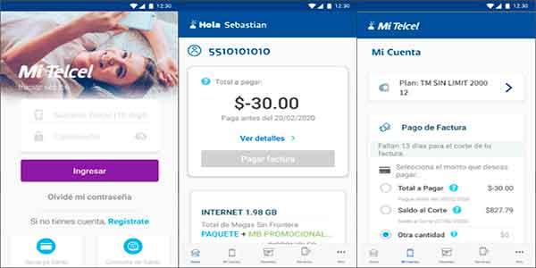 Pagar factura de telcel desde la App Mi Telcel