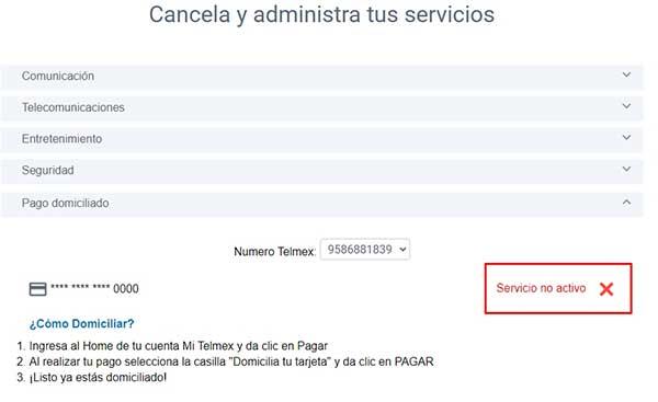 cancelar domiciliar telmex