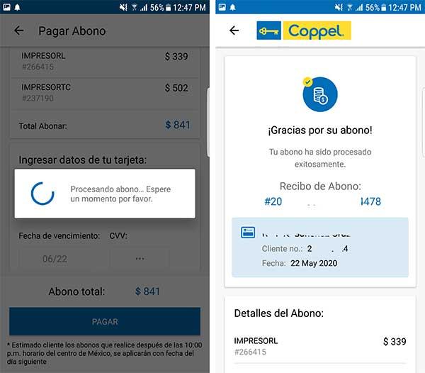 pagar crédito en app coppel