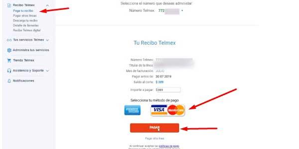 pagar recibo telmex con tarjeta de crédito o débito